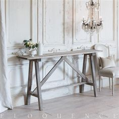 Eloquence French Country Style Vintage Trestle Console | Kathy Kuo Home