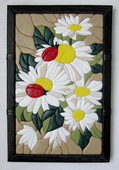 Intarsia Wood Patterns, Applique Patterns, Applique Quilts, Beaded Flowers Patterns, Flower Embroidery Designs, Mosaic Crafts, Mosaic Art, Glue Art, Mosaic Flowers
