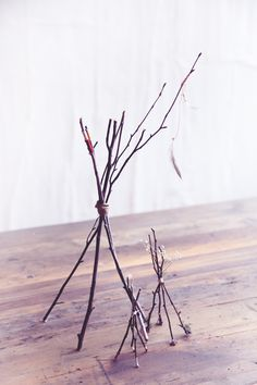 DIY Twig Tabletop Teepees - christmas and thanksgiving.spray paint white/silver/gold or leave natural Nature Crafts, Home Crafts, Easy Crafts, Diy And Crafts, Easy Diy, Feather Painting, Diy Painting, Fall Decor, Christmas Diy