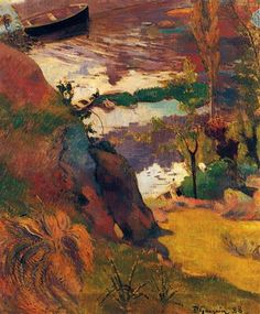 Fisherman and Bathers on the Aven by Paul Gauguin in oil on canvas, done in Now in a private collection. Find a fine art print of this Paul Gauguin painting. Paul Cezanne, Henri Matisse, Landscape Art, Landscape Paintings, Art Aquarelle, Georges Seurat, Impressionist Artists, Arte Popular, Art Moderne