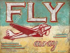 Fly Away Metal Sign, Vintage Airplane, Children's Room Decor, Den Decor #OMSC #Modern