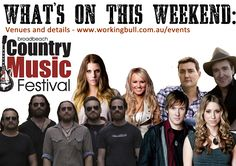 Whats on this weekend in country music!  Check it out www.workingbull.com.au/events Music Festivals, Country Music, Art Pieces, Events, Check, Movie Posters, Artworks, Film Poster, Art Work