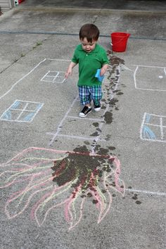 Use chalk to draw a house on fire. Have toddler put the fire out by squeezing a soaked sponge over the flames.