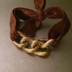 Gold brown chain Chic, Beaded Hair Ties, BOHO, Ponytail Holders, Hair Accessories, Boho Headband, Coachella, Bohemian, Crystal,