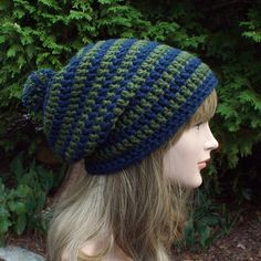 Blue and Green Slouch Beanie Womens Slouchy by ColorMyWorldCrochet