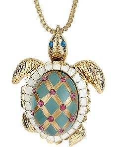 Betsey Johnson - TURTLE LONG NECKLACE GREEN