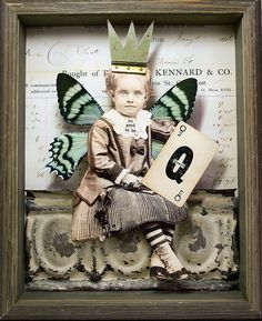 Stephanie Rubiano - it's good to be Queen Altered Tins, Altered Art, Mixed Media Collage, Collage Art, Paper Art, Paper Crafts, Found Object Art, Junk Art, Assemblage Art