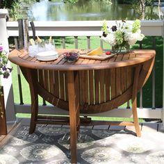 Outdoor Interiors 10025 48-in Round Eucalyptus Folding Table