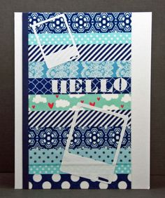 Card from Ingenious Inkling using washi tape with rub ons.
