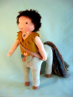 Waldorf doll- centaur - haha, used to make these at school! I miss school :-(