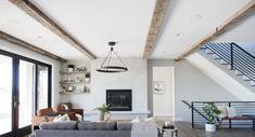 Reclaimed Wood Beams – Dakota Timber Co. Timber Ceiling, White Ceiling, Wood Ceilings, Ceiling Beams, Hangout Room, Barn Wood Projects, Beautiful Living Rooms, Wood Beams, House