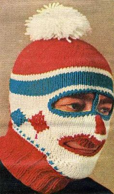 Fear not, with these nifty balaclavas from the whole family can enjoy a holiday robbery spree with absolute zero chance of recognition. Pattern for Adult. Mode Bizarre, Moon Boots, Masked Man, Hats For Sale, Love Hat, Knitting Accessories, Weird And Wonderful, Knitted Hats, Knitted Balaclava