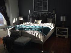 Master bedroom.  IKEA Leirvik bed frame