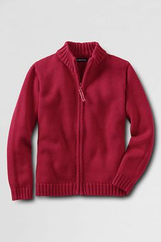 Boys' Zip-front Drifter Cardigan Sweater from Lands' End (perfect for Daniel Tiger costume)