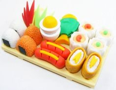 Sushi Little Tokyo Lunch Japanese Puzzle Erasers With Serving Board#kawaii