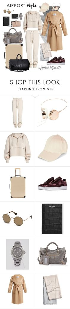 """""""Airport Style - M² ✈️"""" by styledbymsq ❤ liked on Polyvore featuring Ivy Park, Forever 21, Globe-Trotter, NIKE, Balenciaga, Yves Saint Laurent, Louis Vuitton, Chanel and MaxMara"""