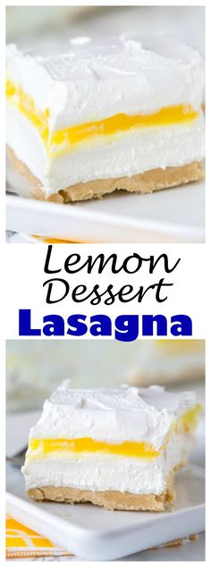 Lemon Lasagna Dessert Recipe – Why not turn lasagna into dessert with layers of cookies, cream cheese, lemon pudding and whipped cream. A creamy and delicious no bake dessert.