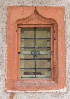 Security bars on a window of the Soldiers Quarters at Heidelberg Castle in Germany