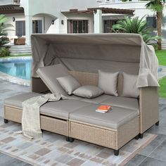 Rattan Daybed, Patio Daybed, Outdoor Daybed, Wicker Sofa, Outdoor Sectional, Sectional Sofa, Outdoor Lounge, Outdoor Spaces, Outdoor Living