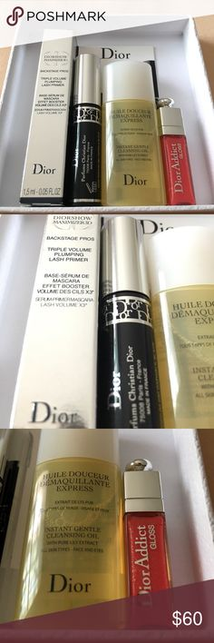 ✨DIOR Travel Set✨ This adorable limited edition Christian Dior Set comes with the following items:                                    •DiorShow Maximizer 3D which is a triple volume plumping lash primer                                                •DiorShow Mascara in Black                                           •Instant Gentle Cleansing Oil w/Lily Extract                      •An adorable miniature DiorAddict Gloss (No.643) Christian Dior Makeup