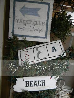 Screen Porch Inspiration:  Porch Signs.  So if I make beachy signs and hang them on my porch,  can I claim to have a beach house?  I'm only 3 miles from Lake Michigan ...