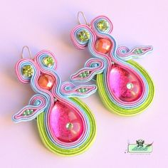 Long Soutache Earrings- in pink ,lime green,sky blue- Swarovski. $120.00, via Etsy.