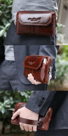 US$34.99+Free shipping.Men's Bag, Phone Bag, Clutches Bag, Business Bag. For 7 inches Phones. Material: Genuine Leather, Color: Brown. Exquisite design, you can hold your bag on your belt or on your hand.