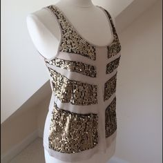 HP Rock & Republic Sequin Tank Top Rock & Republic Sequin Tank Top...panels of brushed gold sequins on black mesh...rough cut mesh lends slightly distressed look...beige rayon...pre-loved in excellent condition...machine wash cold. Retail $40 Rock & Republic Tops Tank Tops