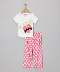 Take a look at this Pink & White Bonjour! Heart Mustache Pajama Set by Kat-Nap on @zulily today!