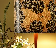 Wallpaper lampshade -- Blossoms in Black Patina design by Art Is Us...AWESOME IDEA...LOVE IT!!!! <3