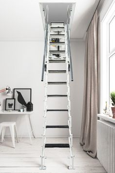 <p>The Fantozzi Electric loft ladder combines a well designed, stylish aluminium concertina ladder with a high-end electric motor to allow the trapdoor & ladder to be lowered and raised by remote control.</p>