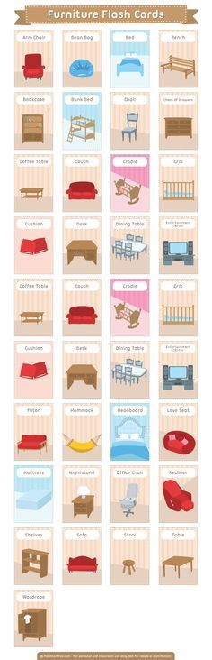 Free printable furniture flash cards. Download them in PDF format at http://flashcardfox.com/download/furniture-flash-cards/