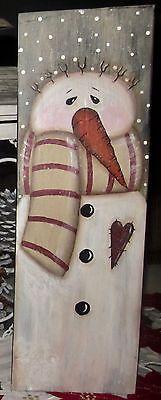 *~*PRIMITIVE*~* HP FOLK ART PRIM SNOWMEN *~* HEART *~* BOARD | Antiques, Primitives | eBay!
