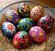 Pysanky - Ukranian egg decorating. This is incredibly hard to do, but beautiful!