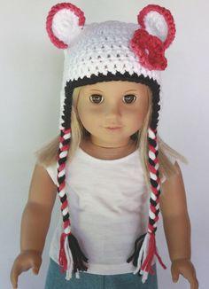 18 Doll Clothes  Animal Earflp Beanie  White von DollTagClothing, $8,00