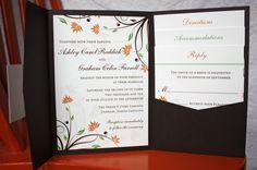 fall wedding invitations   Fall Floral Pocketfold Wedding Invitation   emDOTzee Designs Blog ...