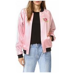 Reversible Contrast Stand-Up Collar Embroidery Floral Letter Pattern... (195 RON) ❤ liked on Polyvore featuring outerwear, coats, floral print coat, embroidered coat, bomber coat, pink bomber jacket and reversible coats
