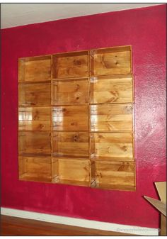 How to make a bookcase out of wood wine crates! #diy #bookcase