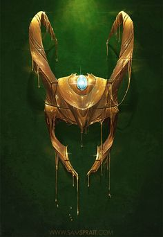 THis would make a marvelous card Marvel Comics Gilded Iron Man And Loki Illustrations by Sam Spratt