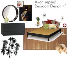 Asian inspired bedroom design with platform bed, bamboo rug and wall decals, Saarinen-style tulip nightstands, red and green accents, and art with cherry blossoms and a geisha. Pomeranian optional. :)