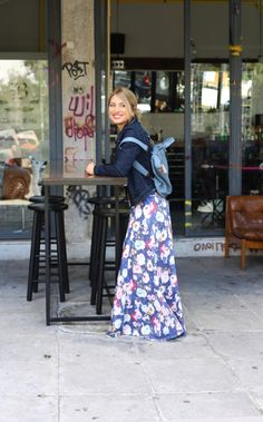 Maria Iliaki in floral wide trousers by Eclectic Soiree @ Panos Kallitsis Salon Wide Trousers, Salons, Floral, Skirts, Style, Fashion, Florals, Lounges, Moda
