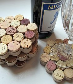 Honeycomb Wine Cork Coasters with Khaki Ribbon by LizzieJoeDesigns, $20.00