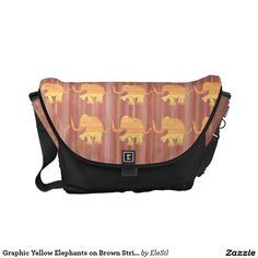 Elephant Designer Accessories: Graphic Yellow Elephants on Brown Stripes Courier Bag