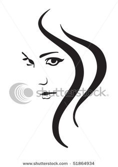 Picture of a Beautiful Woman's Pretty Face with Strands of Hair Flowing down in This Vector Clip Art Illustration