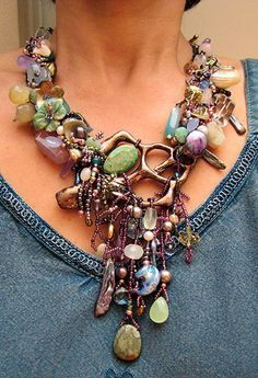 Seascape Necklace by Myra Wood: Ceramic shell by Shelly Neimerow, semi-precious stones, carved jade and lotsa beads!