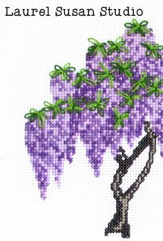 This listing is for a digital download of a pdf cross stitch pattern. You will NOT receive a physical product. This is a printable pattern only, supplies are not included. Our Wisteria design features soft shades of purples and greens to create the wisteria blossoms and leaves. The