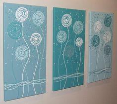"""Artículos similares a Teal azul Aqua blanco Original pintura abstracta por Stephanie - """"ARTSOLUTELY"""" en Etsy"""