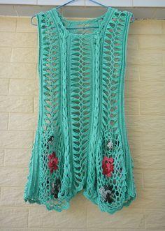 Handmade Crochet Boho Mini Dress Tunic Flower Girls Dress Long Vest Womens Sleeveless Top