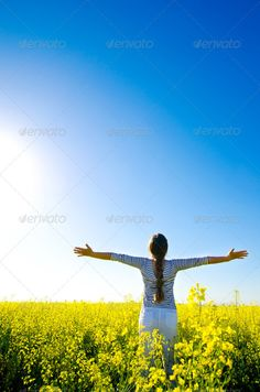 woman in the field ...  adult, arms, back, beautiful, beauty, blue, concept, creative, fashion, female, field, free, freedom, fun, girl, grass, green, hand, happiness, happy, horizon, human, idyllic, joy, landscape, life, lifestyle, meadow, nature, outdoor, people, person, relax, relaxation, sky, spring, standing, striped, style, summer, sun, sunny, up, woman, yellow, young