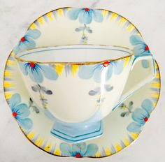 Aynsley Art Deco Handpainted Floral Yellow Teacup and Saucer